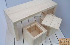 kinder set  lange tafel met 2 krukjes waar je opberg ruimte in hebt kijk op wieke wonen