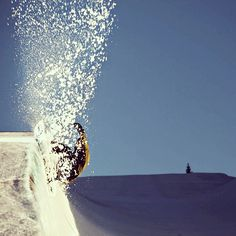 Slash and spray in a pipe in Norway.  Photo by methodmag   #snowboard