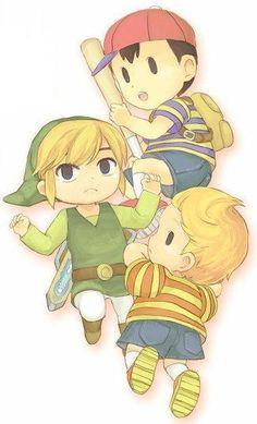 Toon Link, Ness & Lucas of Mother fan art- SSBB