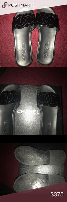 AUTHENTIC CHANEL BLACK PATENT SLIPPERS Authentic Chanel slippers...in great condition. Comes with dust bag and original boxing  Receipt is available upon request! CHANEL Shoes Slippers
