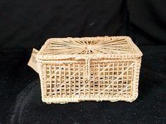 Vintage Miniature Chest Covered Basket BASKETVILLE Box Doll House size #Basketville