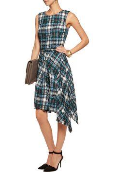 Oscar de la RentaAsymmetric cotton-blend tweed dressclose up