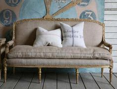 Article + Gallery ➤ http://carlaaston.com/designed/decorating-with-burlap For The Love Of Burlap - The Holiday's Hottest Decorating Tool (KWs: couch, sofa)