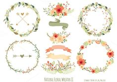 Check out Natural Floral Wreaths II by Delagrafica on Creative Market