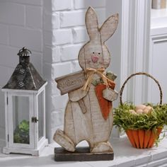 Distressed Wooden Bunny Statue