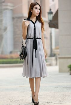 Gray dress woman chiffon dress custom made midi dress by xiaolizi