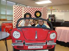 Car cutout for photo moments at library. Set up by display of CH books on cars.