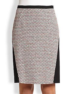 Piazza Sempione Compact Jersey & Tweed Pencil Skirt