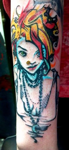 I'm not sure what it is, or whose artwork, but whoever did this tat was pro.  it's gorgeous! the girl just looks like a bamf.