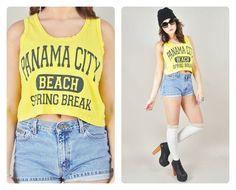 4th of July Sale 1980s yellow cotton t-shirt knit rare PANAMA CITY beach spring break novelty muscle tank top VINTAGE https://www.etsy.com/shop/LushLoveLita
