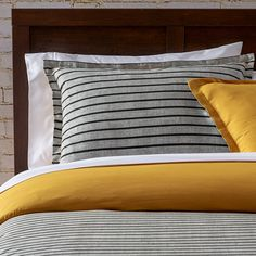 Wrought Studio Bring a dash of pattern to your master suite or guest room bedding with this eye-catching cotton comforter set, featuring a bold striped motif in black and grey tones. King Size Comforter Sets, King Size Comforters, Queen Bedding Sets, Duvet Sets, Duvet Cover Sets, Crib Accessories, Contemporary Duvet Covers, Striped Bedding, White Sheets