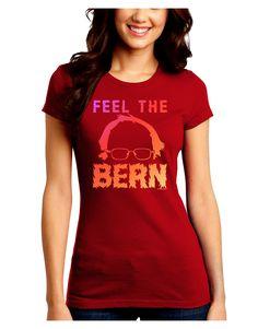 TooLoud Feel the Bern Juniors Petite Crew Dark T-Shirt
