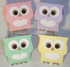 10 Baby Owl Party Favor Boxes Paper Box Pastel (Kit)