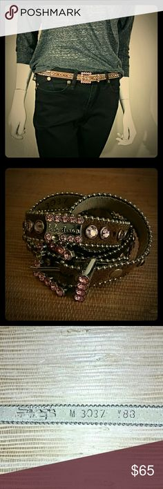 "BB Simon Pink Jeweled Brown Leather Belt Pink Swarovski Crystal Jeweled Brown Leather Belt by BB Simon  Missing two stones (visible in second photo) one on buckle and one on brand logo piece.   Measures 36"" long and 3/4"" wide. b. b. simon Accessories Belts"