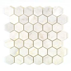 2 Inch x 2 Inch Hexagon White Marble Polished Mosaic