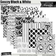 Snazzy Black and White Digital Scrapbook Paper Biggie by Creativeqube Design
