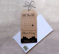 Rustic Save The Date. Mountain Wedding Theme. by ThePaperMoonPress