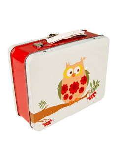 Gorgeous suitcase style tin lunch box designed in Norway by Blafre Design.    Features a gorgeous owlin vintage style patterns sitting on a branch. Perfect lunchbox for school or for storage - looks fabulous sitting on shelf filled with nik naks!