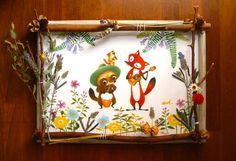 壁に飾る繪も夏らしく!陽気な動物ラティーノのイラスト、ボタニカルフレーム入り