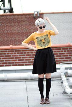 love the shirt, skirt, socks, shoes, hair, sunglasses (okay, everything)
