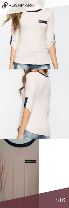 "NWT Contrast Zip Top Casual cute was never so easy! This tee features a contrast zip chest accent, neck lining, and tab buttons at 3/4 sleeves. Size Large Color: Blush 95% Rayon, 5% Spandex Hand wash cold Model is in size S Model is 5'8.5"", bust 33"", waist 23"", 34"" hips a'gaci Tops Tees - Short Sleeve"