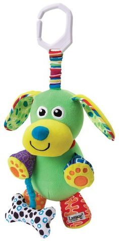 The adorable Lamaze Pupsqueak soft plush toy will delight your baby with its bright colours and fun squeaks, crinkles and rattles. Pat his nose to hear him bark. Perfect sized toy for carrying and travelling. As with all Play and Grow items, Pupsqueak