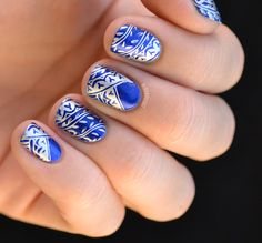 silver over blue stamping, cheeky jumbo plates