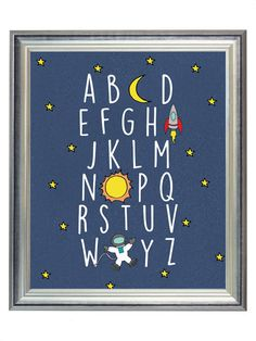 Blue Outer Space Alphabet ABC Nursery Digital Print Art, Alphabet Print for Baby Boy, Wall Art Decor, Digital Typography | $5.00 | 8x10