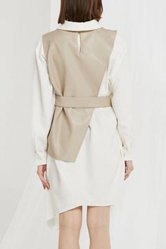 Knox Pleather Vest and Dress Set Fashion 2020, Runway Fashion, Trendy Fashion, Womens Fashion, Fashion Trends, Hijab Fashion, Fashion Dresses, Dress Shirts For Women, Mode Hijab