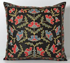 Suzani pillow black suzani pillow suzani needlecraft by pillowme