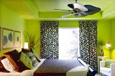 Design Your Own Room For Taste Lime Green Wall Leaves Curtains Brown Bed