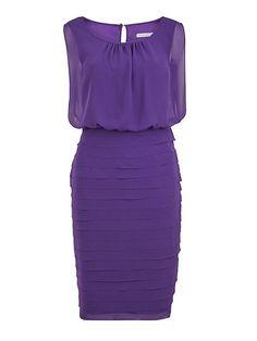 Round neck chiffon layered dress