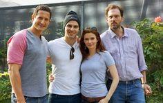Silas, Sasha Roiz, Bitsie, and David G. at a hospital to say hi to a make a wish kid... I think