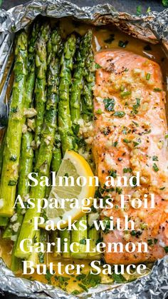 Salmon and Asparagus Foil Packs with Garlic Lemon Butter Sauce - recipe paleo keto - Whip up something quick and delicious tonight - recipe by Fish Recipes, Seafood Recipes, Dinner Recipes, Cooking Recipes, Healthy Recipes, Chicken Recipes, Dessert Recipes, Baked Salmon Recipes, Dessert Food