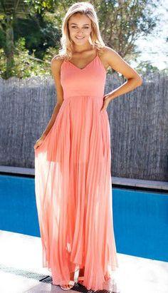 Accordion Prom Dress - Pink Orange