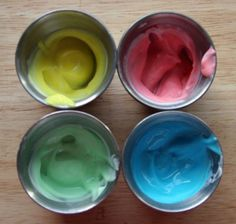edible finger paint #toddler #crafts - it worked well (used gel food coloring and fage greek yogurt). 21 month old didn't quite get the concept of finger painting and wanted to eat it instead :)
