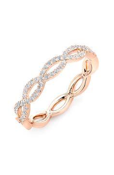 Rose Gold Diamond Weave Ring