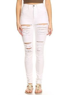481f7cdffc4e Buy the latest women white high waist destroyed skinny jeans with cheap  price shop fashion style