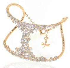 diamond cuff bracelet in 18k pink gold, shop online, deleuse.com