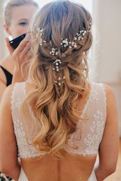 pinterest wedding hairstyles half up half down with braid decorated with baby breath jackdavolio via instagram