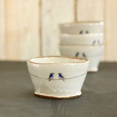 love birds bowl  two blue birds  white  brown glaze  by TwoPotters