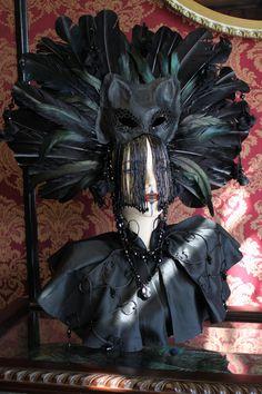 The Familiar Shaman headdress of feathers leather by Mascherina