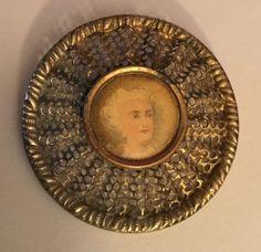 Color Lithograph Celluloid Portrait Woman Antique Button Metal Screen Old  | eBay