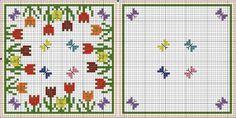Tulips biscornu or pincushion pattern Biscornu Cross Stitch, Cross Stitch Charts, Cross Stitch Designs, Cross Stitch Embroidery, Embroidery Patterns, Cross Stitch Patterns, Butterfly Cross Stitch, Cross Stitch Flowers, Square Patterns