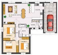 Plan maison contemporaine plain pied en L 3 chambres et garage ...