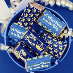 Blue and Gold Little Prince Baby Shower - Mini Candy Bar Stickers (Set of 54)