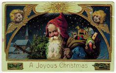 Antique Vintage Christmas Postcard Santa St Nicholas Blue Cloak Germany 1911 | eBay