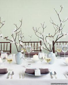 Opção: Decoração de casamento sem flores (galhos secos)
