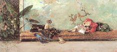 """Mariano Fortuny Marsal's """"Los hijos de pintor, Maria Luisa y Mariano, en el salon japones,"""" 1874, in the Prado."""