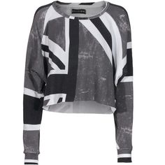Religion Union Jack Faded Cropped Cropped Cotton Sweater ($110) ❤ liked on Polyvore